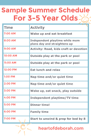 Daily Routine Chart For 10 Year Old Example Of A Summer Schedule For Kids That Will Inspire You