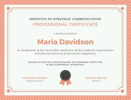 Professional Certificates Templates Peach Grey Stripes Border Professional Certificate Templates By Canva
