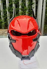arkham knight motorcycle helmet custom dot approved red arkham