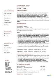 Bank Teller Job Description For Resume Waiter Resume Examples For