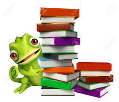 3d rendered ilration of chameleon cartoon character with book stack stock ilration 54043560