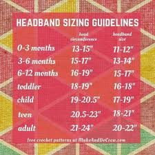 Headband Sizing Chart Sewing Headbands Crochet Flower
