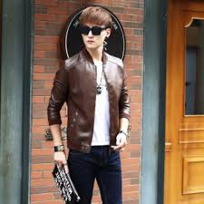 ihambing ang pinakabagong spring and autumn man plus velvet leather coat korean style slim fit men s jacket stand collar youth locomotive leather coat