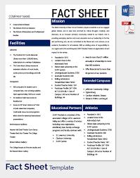 Company Fact Sheet Sample Fact Sheet Format Rome Fontanacountryinn Com
