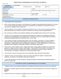 Employee Performance Review Sample General Information