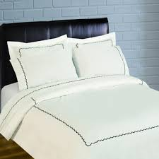 scallop embroidery 300 thread count percale br duvet set black