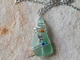wire wrapped recycled glass pendant. Photo Wire Wrapped Recycled Glass Pendant