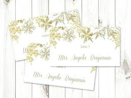 Place Card Holder Template Winter Wedding Place Card Template Snowflakes Gold Flat