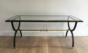 neoclassical style black steel and brass coffee table 1950s