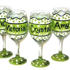 polka dot wine glasses wedding hand painted bridal party win waterford crystal