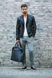 how to wear black leather biker jacket white v neck sweater grey
