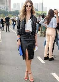Resultado de imagem para jaqueta com saia de couro lapis