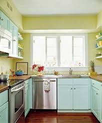 Kitchen Interiors For Small Kitchens Vibrant Yellow Kitchen Color Idea For Small Interior With