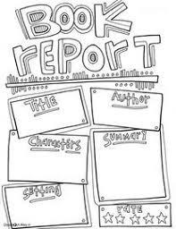 book report template coloring page great way to get kids started on book reports