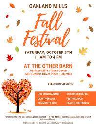 Fall Festival Flier Om Fall Festival Flier 2019 Oakland Mills