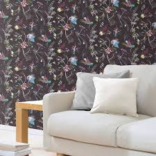 Tree Design Wallpaper Living Room Old Chocolate Tone Floral Wallpaper Design By Gillian Arnold