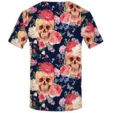 Flower Chart T Shirt Kyku Skull T Shirt Men 3d Printed T Shirt Flower Short Sleeve Casual Clothing