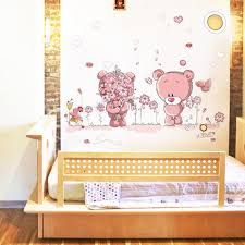 removable cute couple bear wall stickers art decal wall post nursery girl baby children bedroom docor in wall stickers from home garden on aliexpress  on bear wall art nursery with removable cute couple bear wall stickers art decal wall post nursery
