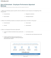 Sample Employee Performance Appraisal Quiz Worksheet Employee Performance Appraisal Methods Study Com