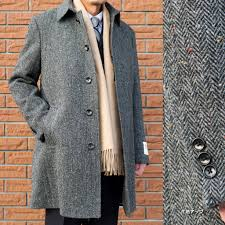in autumn harris tweed convertible collar coat gray herringbone nep men outer oxford classic 40018 s m l ll 3l for winter