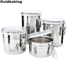 4 pieces kitchen canisters stainless steel beautiful food container set for counter with airtight containers countertop