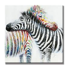 hand painted oil painting animal colorful zebra modern wall art with stretched frame ready