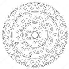 Zwarte Bloemen Mandala Kleurplaten Stockvector Ingasmk 113524494