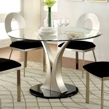 Glass Kitchen Tables Round Furniture Of America Sculpture Iii Contemporary Glass Top Round