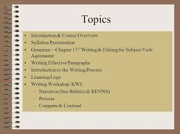 ge english i week agenda winter topics introduction 2 topics introduction course overview syllabus presentation