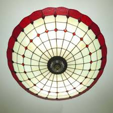 modern copper armed red stained glass tiffany 5 light chandelier in bowl shade