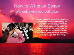 how to write an essay out driving yourself crazy essay  how to write an essay out driving yourself crazy essay subjects leading to topics for a