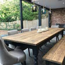 extra wide farmhouse dining table set