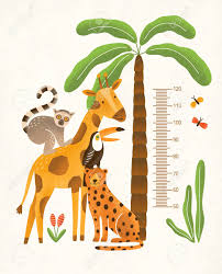 Palm Tree Chart Childrens Height Wall Chart In Centimeters Decorated With Tropical