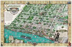savannah historic district illustrated map michael karpovage