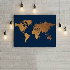 modern art for office. World Map Blue And Gold Home Decor Wall Art Poster, Office Modern For