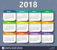 Calender Design Template Calendar 2018 Year Vector Design Template In Spanish Stock Vector