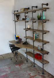 Pvc Pipe Bookshelf Industrial Pipe And Walnut L Shaped Desk With Shelves Pallet