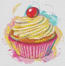 Yummy Cupcake Cross Stitch Pattern Pdf Kitchen Series Food