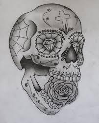 Sugar Skull Mexican Tattoo Sketch Tattooshuntcom