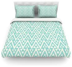 amanda lane geo tribal turquoise sky teal aztec duvet cover cotton queen