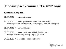 Презентация на тему Краевые процедуры оценки качества  22 Проект расписания