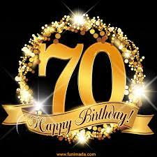 Happy 70th Birthday Anniversary Card, Gold Glitter and Sparkles — Download on Funimada.com