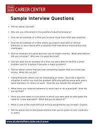 Interview Question Examples Sample Interview Questions