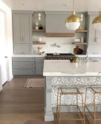 Gold Accents, Grey Cabinetry, and Accent Tile on the Bar | Gold ...
