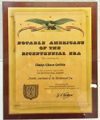 Notable Americans of the Bicentennial Era Plaque to Gladys Griffith Piqua  Ohio | eBay