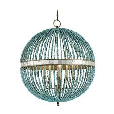 blue beaded orb pendant chandelier light by currey and company lighting