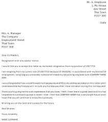 Sample Of Resignation Letters Resignation Letters Word Good Example ...