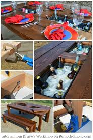 tutorial for this awesome diy patio table with drink coolers kruse s work on remodelaholic
