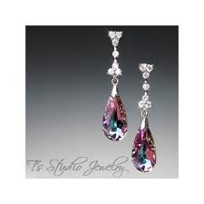 peacock blue crystal chandelier earrings lt vitrail amethyst crystal chandelier earrings