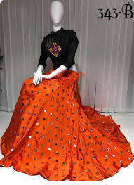 Skirt Top Stitching Designs Fabulous Orange Mirror Work Lehenga Skirt With Black
